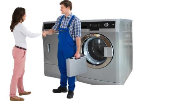 dryer repair technician shack hands with customer