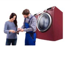 dryer repair technician giving repair estimate to young lady